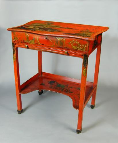 George III red lacquer dressing table with fitted interior