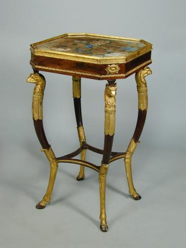 Regency simulated rosewood and giltwood worktable with original floral painted silk panel to the top