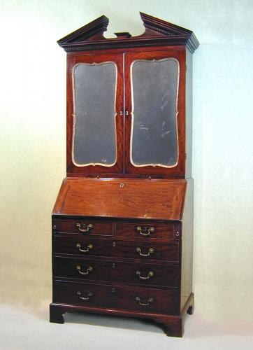 George II mahogany bureau bookcase in the manner of Chippendale
