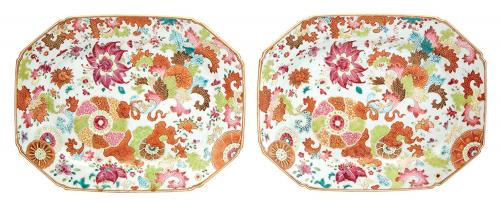 Chinese Export Porcelain Tobacco Leaf Dishes, circa 1765.