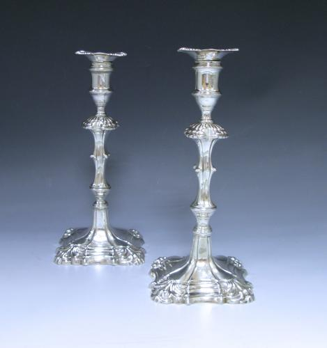 Pair of Antique Silver George II Cast Candlesticks Made by William Cafe in 1757