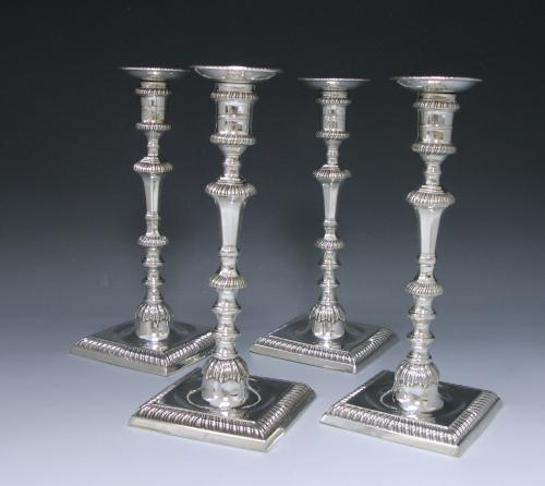 Set of Four George III Silver Candlesticks Made by Ebenezer Coker in 1765