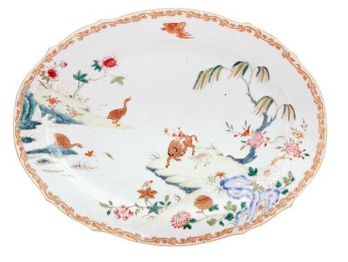 Chinese Export Porcelain Famille Rose Dish with Boy on Water Buffalo, Circa 1735-50.