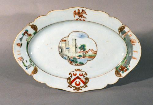 Chinese Export Armorial Porcelain Dish, Arms of Pole, Circa 1745.