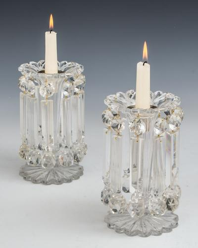 A Pair of Elaborately Cut Victorian Lustres Hung With Prismatic Ball Drops, English Circa 1850