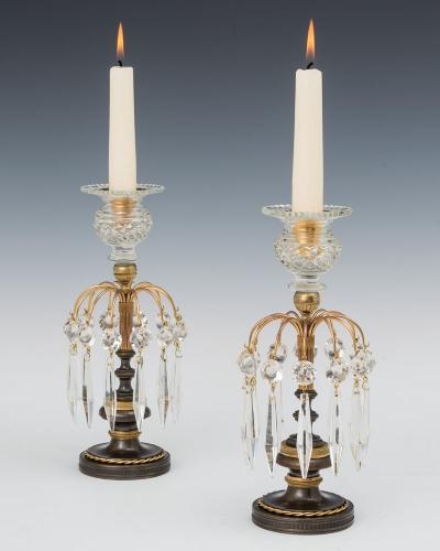 A Pair of Ormolu and Bronze Regency Candlesticks, English Circa 1810