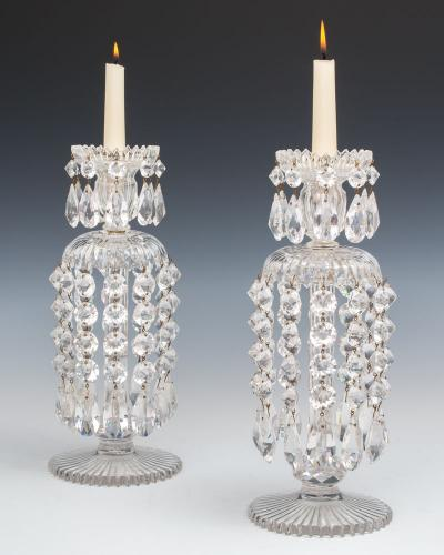 A Pair of Early Victorian Lustres by Perry & Co, English Circa 1850
