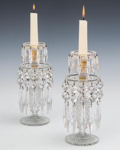 A Pair Regency Strawberry Diamond Cut Candlesticks, English Circa 1815