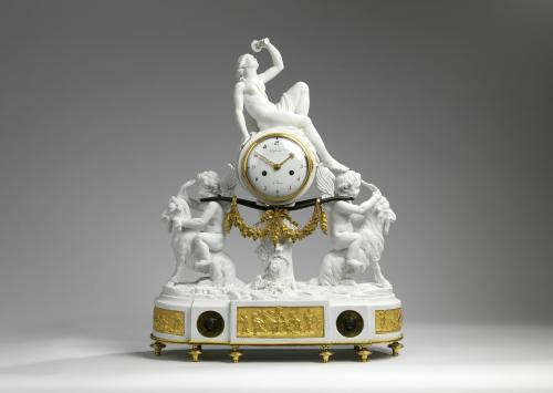A Louis XVI Ormolu and Biscuit Porcelaine Mantel Clock by Guydamour