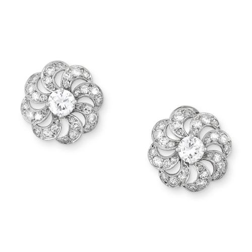 Brilliant cut diamond 'catherine wheel' cluster earclips