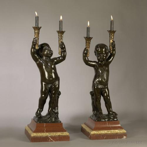 A Fine Pair of Patinated Bronze Figural Torcheres ©AdrianAlanLtd