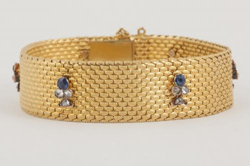 Antique Bracelet 18 Karat Gold with Sapphire and Diamond Trefoils, French circa 1880