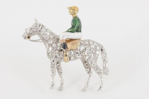 Alabaster & Wilson Racehorse & Jockey Equestrian Brooch, Diamonds & Enamel in Gold, English circa 1970