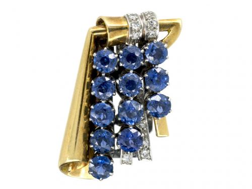 Clip Brooch in 18 Carat Gold, Diamonds & Montana Sapphires, English circa 1940