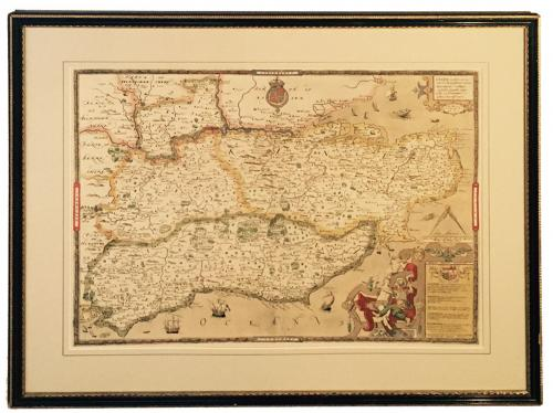 Saxton's Map of Kent Sussex Surrey and Middlesex 1575