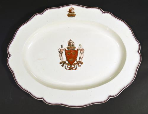 Antique English Creamware Armorial Dish, Possibly Melbourne,The Coat of Arms is that of The Chief of Grant. Circa 1800.