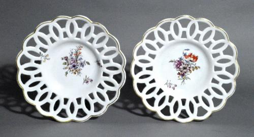 Chelsea Porcelain Reticulated Circular Dishes, Gold Anchor Period, Circa 1760