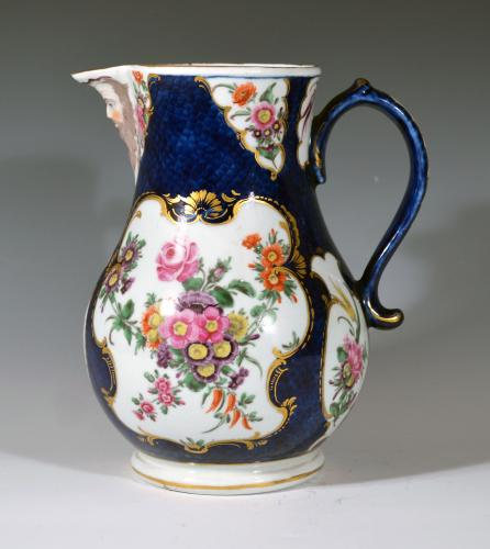 First Period Worcester Porcelain Large Blue Scale Botanical Mask Jug, Circa 1765