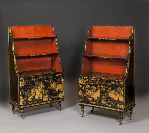 Pair of English Regency Period Lacquer Bookcases Bookshelves England, circa 1825