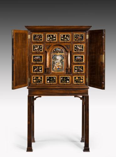 6479 George II Pietra Dura and Mahogany Cabinet-on-Stand