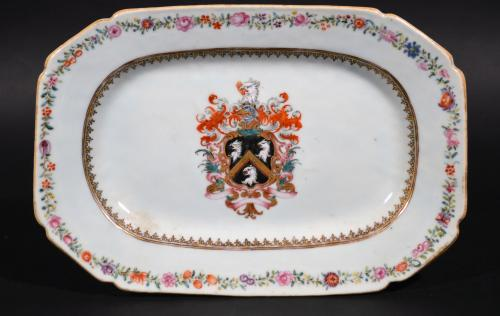 Chinese Export Porcelain Armorial Dish with the Coat of Arms of Skinner, Circa 1750.