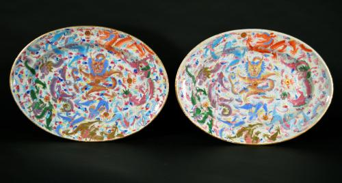 Chinese Export Rose Mandarin Dishes of Dragons chasing the Flaming Pearl, Circa 1820-40.