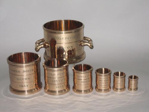 SET OF SEVEN IMPERIAL MEASURES, CASTLE DISTRICT DEVON, 1834