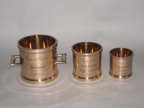 SET OF THREE IMPERIAL MEASURES, DEVON 1825