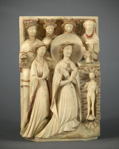 Relief with the Adoration of the Magi  Alabaster, with original polychrome and gilding  England, Nottingham, 15th century