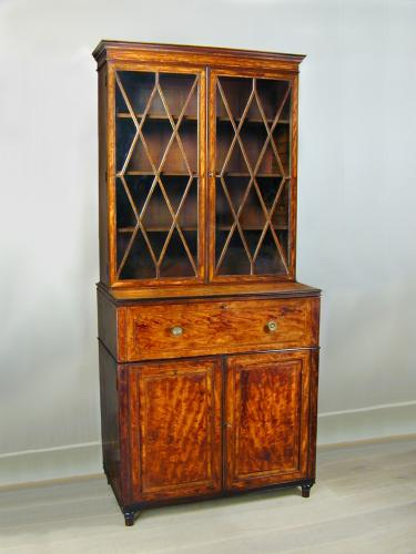 A fine Sheraton inlaid satinwood secretaire bookcase, c.1790
