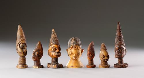 Rare Collection of Seven West African Yoruba Carved Ivory 'Olori Ikin'