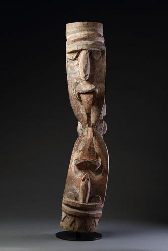 Papuan New Guinea Kambot Keram River Janus Headed Figural Wooden House Post