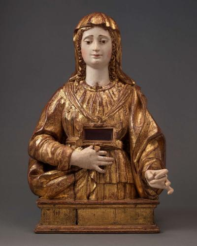 A Reliquary Bust Female Saint  Walnut, with original polychrome and gilding  Spain, Seville, first half 16th century