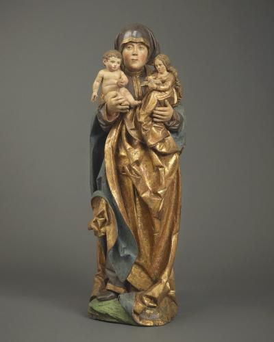 Anna Selbdritt, Limewood, with original polychrome and gilding, Southern Germany, Ulm, or Switzerland, Lucerne, c. 1520