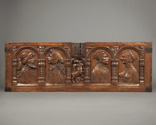 Marriage Chest Panel with Couple, Walnut and Iron, France, early 16th century