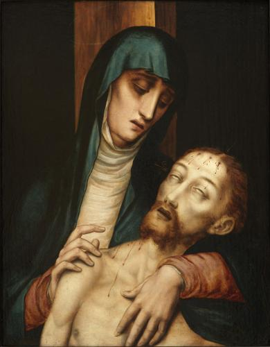 Luis de Morales (Badajoz c.1510-1511–1586 Alcántara) Pietà, Oil on walnut panel