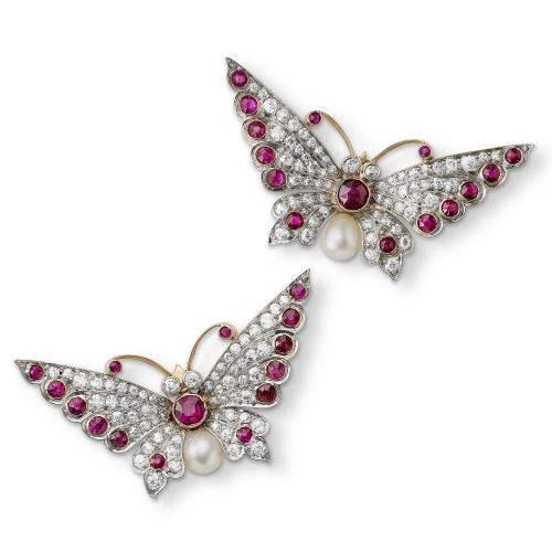 Edwardian pair of ruby, diamond and pearl butterfly brooches