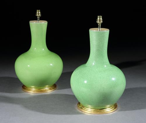 A Pair of Chinese Green Craquelure Vases Now Mounted as Lamps