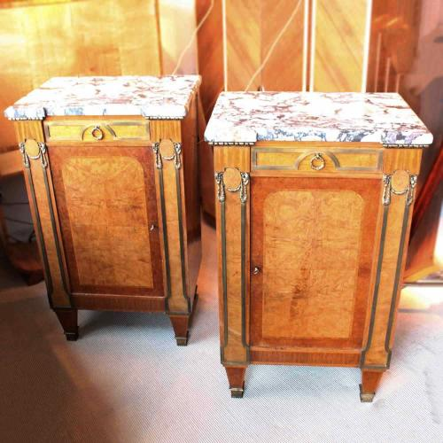 French Marble top pair of cabinets