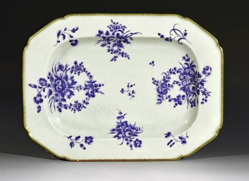First Period Worcester Porcelain Dry Blue Enamel Large Dish or Platter, Circa 1768-70