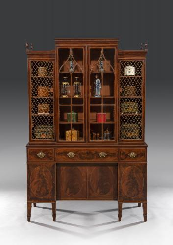 George III Sheraton Period Flamed Mahogany Breakfront Cabinet Bookcase English Circa 1790