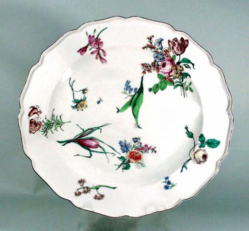 Antique Chelsea Porcelain Dish,  Red Anchor Period,  Circa 1755.