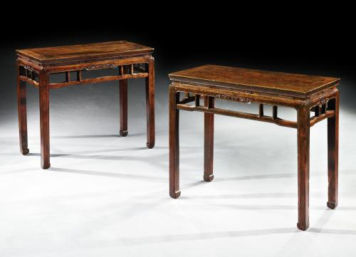 A pair of mid 19th century Chinese side tables