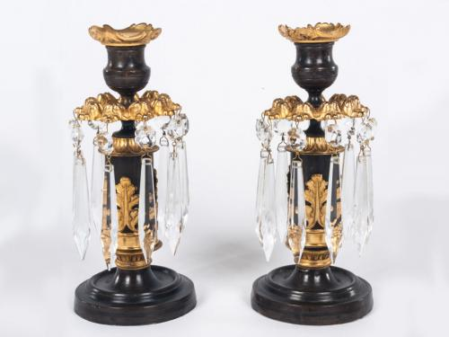 Pair of bronze and gilt Lustre Candlesticks