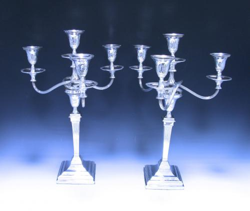 Pair of Edwardian Antique Sterling Silver Four Light Candelabra