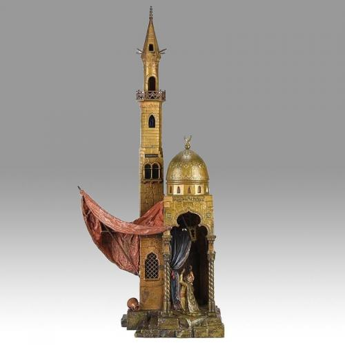 Cold Painted Austrian Bronze 'Minaret Lamp' by Franz Bergman