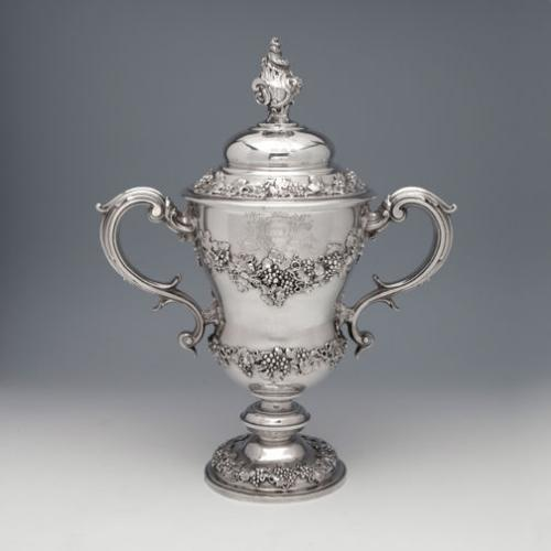 A Remarkable and Large George II Antique English Silver Cup & Cover