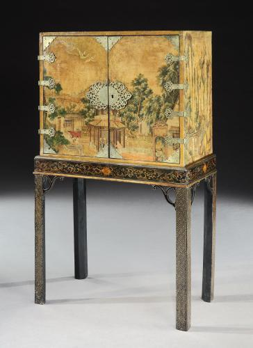Rare 18th Century Chinese Wallpaper Covered Cabinet on Stand