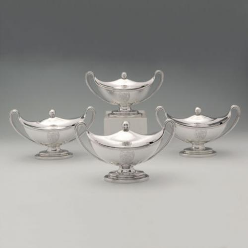 A Set of Four George III Antique English Silver Sauce Tureens