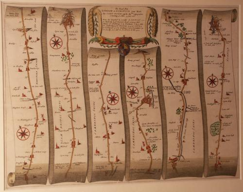 A road map from Britannia,1675/6. The road from London to Kings Lynn, showing Royston to Downham